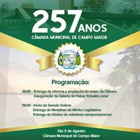 Câmara de Campo Maior completará 257 anos de instalação e divulga programação