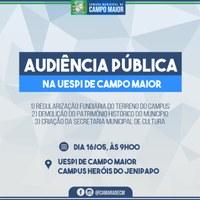 Câmara de Campo Maior, em parceria com Campus da UESPI promoverá audiência pública sobre patrimônio histórico municipal