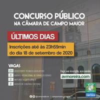Prazo para as inscrições do concurso da Câmara de Campo Maior se encerra nesta sexta (18)